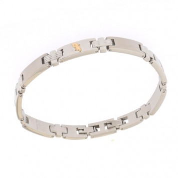Bracelet Acier Carte Martinique Or750 22cm