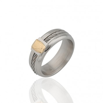 Bague Acier Gwoka Or750 Taille 66 8mm