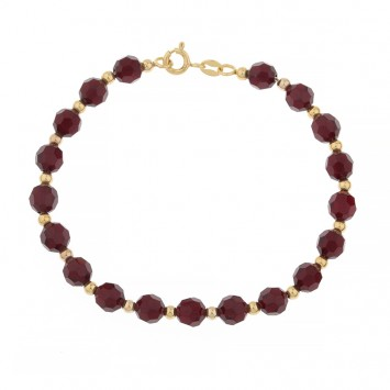 Bracelet Grain D'or Cristal Grenat 19cm Or375