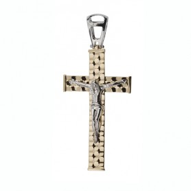 Croix Christ Bicolore 26*59mm Or375