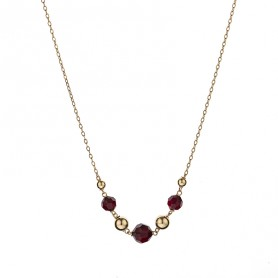 Collier Grain D'or Christal Grenat Or750 42 A 45cm