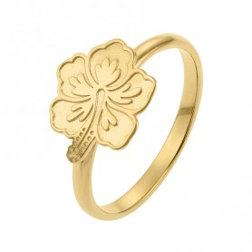 Bague Hibiscus Plaqué Or  Taille 54