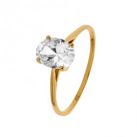 Bague Solitaire Zirconium Ovale 6*8mm Or750 Taille 52