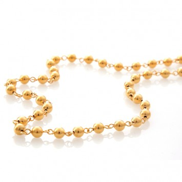 Collier Grain D'or 6mm 45cm Plaqué Or