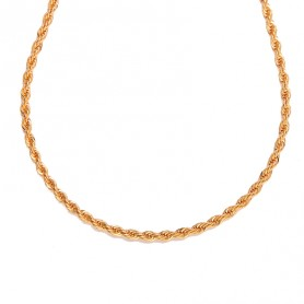 Collier Maille Corde 4mm 45cm Plaqué Or