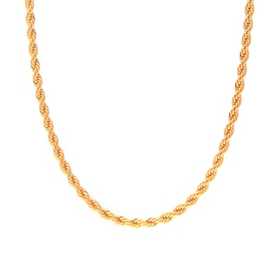 Collier Plaqué Or Maille Corde 4mm 60cm