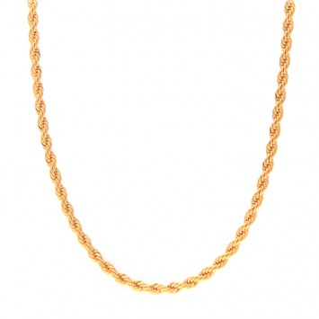 Collier Maille Corde 4mm 70cm Plaqué Or