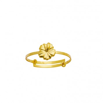 Bague Hisbiscus Or375 Ajustable Taille 52 A 58