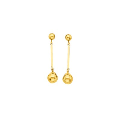 Boucles D'oreilles Or375 Pendant Grain D'or