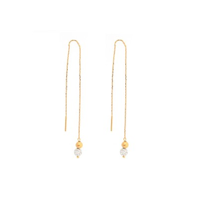 Boucles D'oreilles Or375 Guyannaises Pendant Grain D'or Strass 4mm