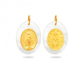 Médaille Vierge Miraculeuse Nacre 12*19mm Or750