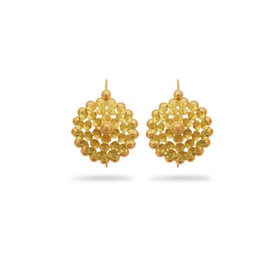 Boucles D'oreilles Or750 Pendant 40mm Au Total Tété Négresse 30mm