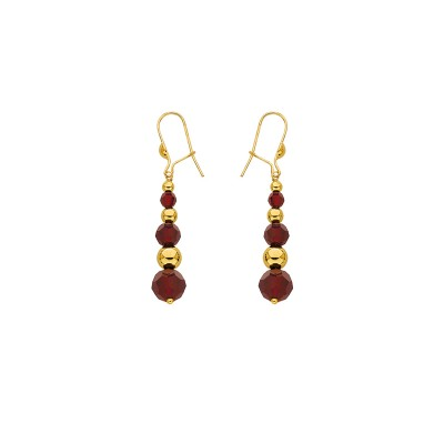 Boucles D'oreilles Or375 Pendant Grain D'or Cristal Grenat
