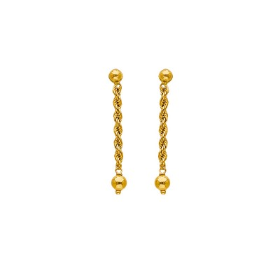 Boucles D'oreilles Or375 Pendant 30mm Au Total Maille Corde Grain D'or 3mm