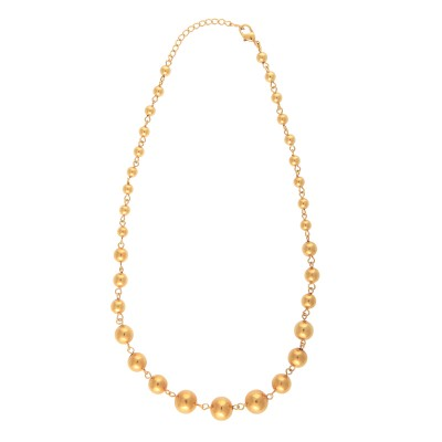 Collier Plaqué Or Chaîne Grain D'or 6 A 12mm 45cm
