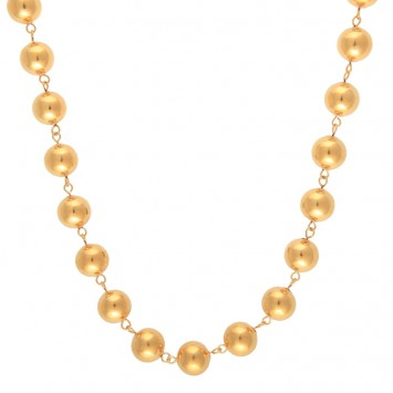 Collier Grain D'or 12mm 50cm Plaqué Or