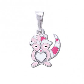 Pendentif Racoon Rose Argent925 11.5*20mm
