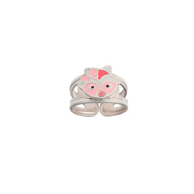 Bague Argent925 Tête Racoon Email Rose Ajustable